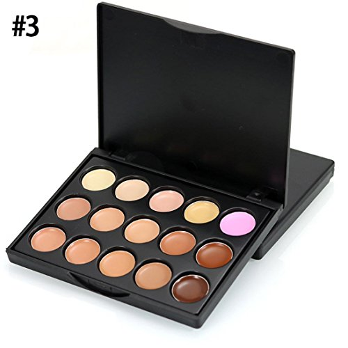 Weite 15 Colors Professional Concealer Palette Camouflage Cream Contour Palette For Natural Makeup Smooth Face Whitning Face and Concealing Acne (C)