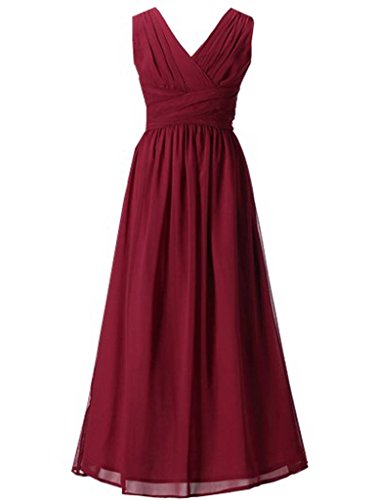 Happy Rose Flower Girl's Dress Party Dresses Juniors Long Bridesmaid Dress Wine -
