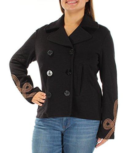 Denim & Supply Ralph Lauren Womens Knit Embroidered Pea Coat Navy ()