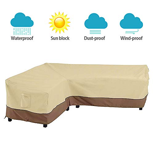 (Interlink Patio Sectional Cover L-Shaped Waterproof Outdoor Veranda Furniture Sofa Cover Garden Couch Protector (Leftfacing))