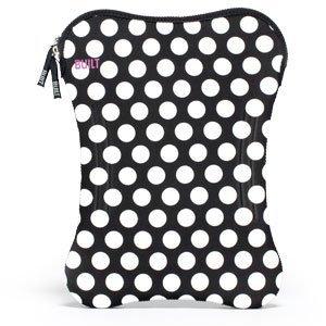 BUILT Neoprene Sleeve for 9-10-inch Laptop, Big Dot Black and White (Hip Monograms Mini)