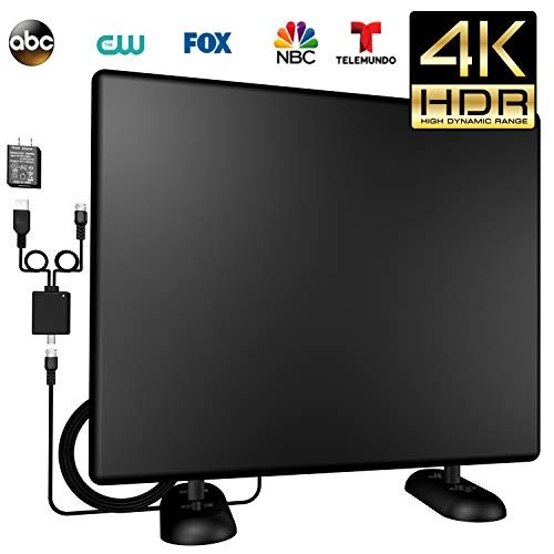 - Kingkkong Amplified 120+Miles Ultra TV Antenna - Indoor/Outdoor HDTV Antenna with Amplifier TV Channels High Reception Digital Antenna for TV VHF/UHF 4K 1080P Signals High Definition Free Gain 16ft CA