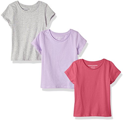 (Amazon Essentials Girls' 3-Pack Short-Sleeve Tee, Lilac/Heather Grey/Raspberry, M)