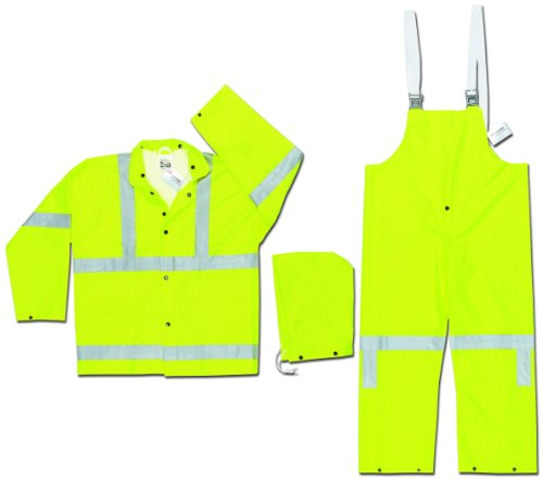 - MCR Safety 2083SRX2 Luminator Class 3 PVC/Polyester 3-Peice Suit with Detachable Hood and 3M Reflective Material, Fluorescent Lime, 2X-Large