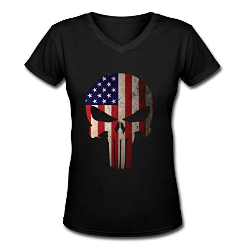 Espor Punisher American Flag Summer V Neck Short Sleeve T Shirts for Womens M Black