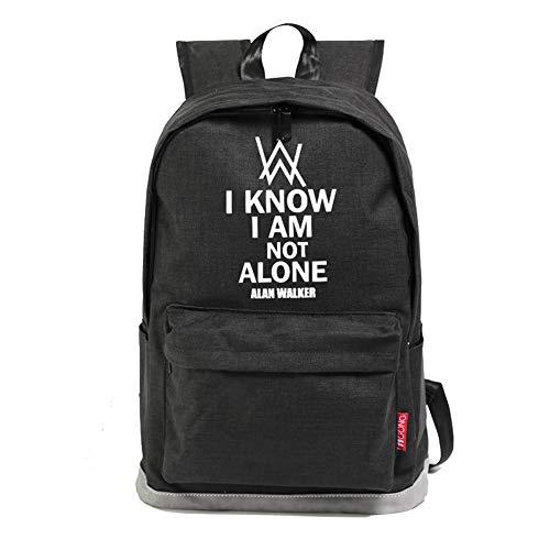 YOURNELO Boy's Girl's Alan Walker Quadratic Element Travel Leisure Shoulder Bag Backpack (Black 3)
