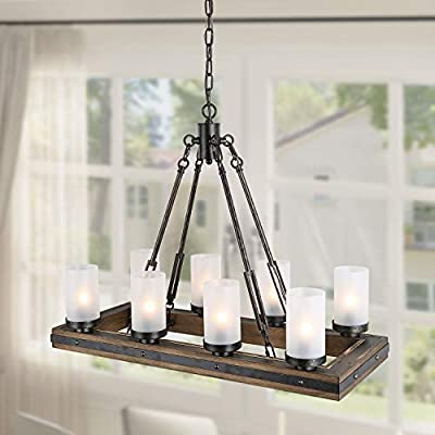 LNC 8-Lights Vineyard Pendant, Wood Chandelier with Frosted Glass Shade for Kitchen Island