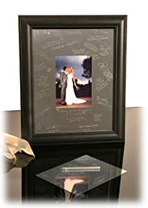 EngraveFrames Engravable Signature Frame and Mat 11x14 Black Frame with Silver Mat