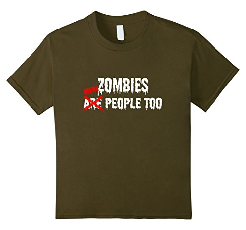 Kids Zombies Are (Were) People Too T-Shirt Funny Zombie Tee 12 Olive (Funny College Halloween Costume Ideas Men)