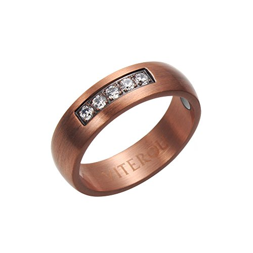 VITEROU 6MM Classic Pure Copper Wedding Engagement Band Ring with 2 Magnets for Arthritis Pain Relief Comfort Fit,Size 6-13