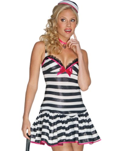 Convict Cutie Halloween Costume (Convicted Cutie Womens Halloween Convict Costume sz S)