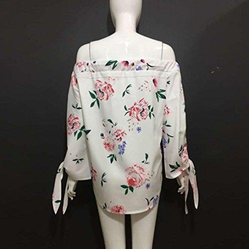 Bluestercool Mujeres De La Manera De Las Blusas Ocasionales Impresas Florales Del Verano De La Blusa De La Camisa Del Hombro Blanco