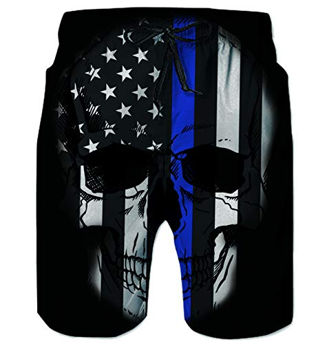 Alistyle Mens 3D Flag Print Swim Trunks Cool Beach Boardshorts