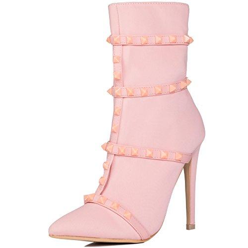 Chaussures Spylovebuy Femmes Clouts Rose Bottes Dragona Aiguilles Stiletto Chaussettes Pour Talons Stretch wqqzFWxOAZ