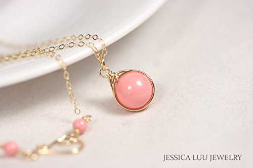 Gold Pink Coral Necklace Pink Coral Swarovski Pearl Pendant Wire Wrapped Yellow or Rose Gold Filled Pearl Coral Pendant