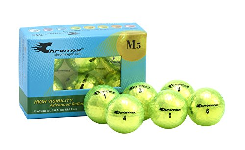Chromax Metallic M5 Colored Neon Golf Balls (Pack of 6), Green