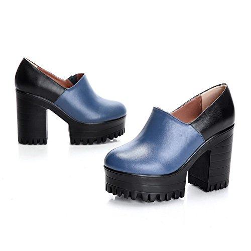 Amoonyfashion Dames Hoge Hakken Ronde Gesloten Neus Zacht Materiaal Enkelhoge Pumps-schoenen Blauw