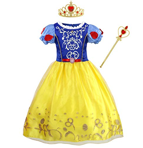 Jurebecia Girls Snow White Costume Dress Kids Princess Dress up Halloween Party Fancy Dresses Outfits Size -