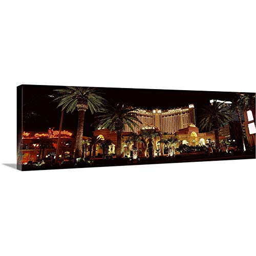 GREATBIGCANVAS Gallery-Wrapped Canvas Entitled Hotel lit up at Night Monte Carlo Resort and Casino The Strip Las Vegas Nevada by 60
