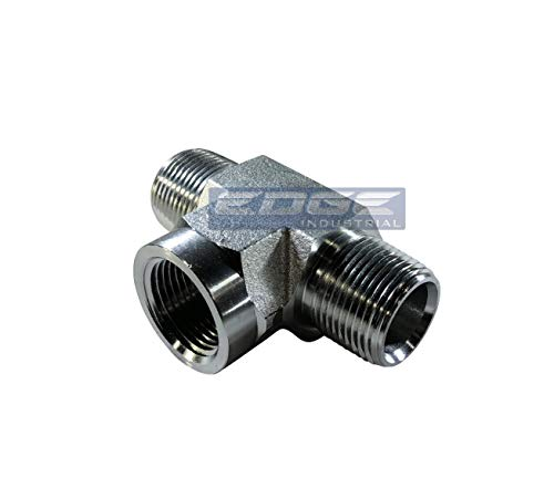 "EDGE INDUSTRIAL Steel Female Branch TEE 3/4"" MNPT x 3/4"" FNPT HYDRUALIC/Fuel / AIR/Water / Oil/Gas / WOG"