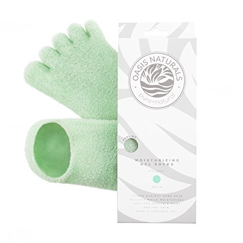 LE EMILIE 5 Toe Moisturizing Gel Socks | Perfect for Healing Dry Cracked Heels and Feet | Infused with Aromatherapy Blend of Lavender and Jojoba Oil | 1 Pair, Aqua