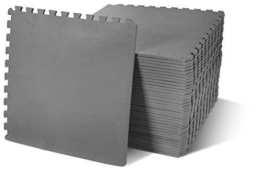 BalanceFrom Puzzle Exercise Mat with EVA Foam Interlocking Tiles, Gray, 144 sq. ft. (Pack of -