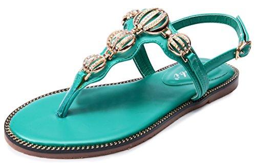 Odema Mujer Verano de Correa en T Diamante de imitacion plana sandalias Verde