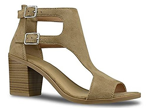 MVE Shoes Women's Open Toe Double Buckle Cutout Stacked Heel Sandal, tan IMSU Size 7.5