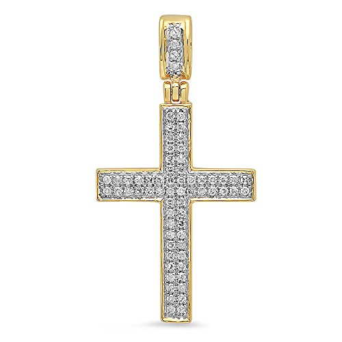 Yellow Gold Round Diamond Men's Cross Pendant 1/5 CT (Silver Chain Included) (10k Yellow Cross Diamond Pendant)