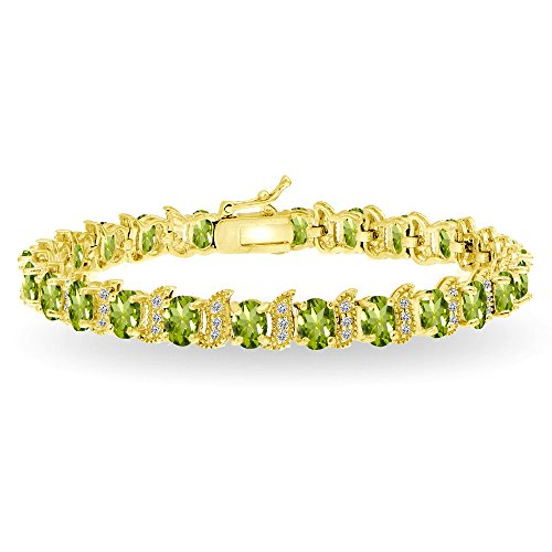 GemStar USA Yellow Gold Flashed Sterling Silver Peridot 6x4mm Oval and S Tennis Bracelet with White Topaz Accents