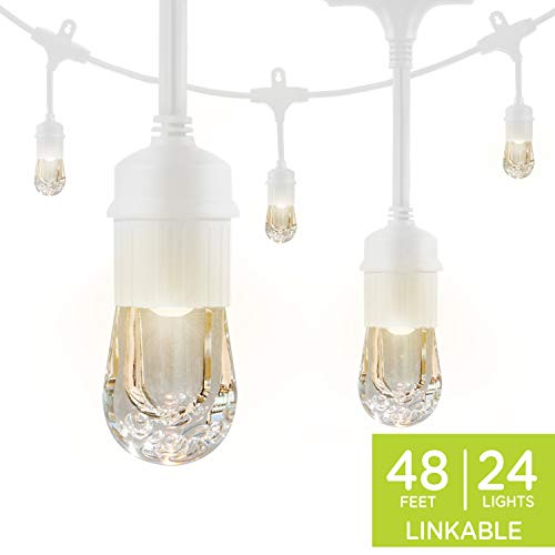 Enbrighten Classic LED Cafe String Lights, White, 48 Foot Length, 24 Impact Resistant Lifetime Bulbs, Premium, Shatterproof, Weatherproof, Indoor/Outdoor, Commercial Grade, Ul Listed, 35608 (Outdoor Lighting Track Patio)