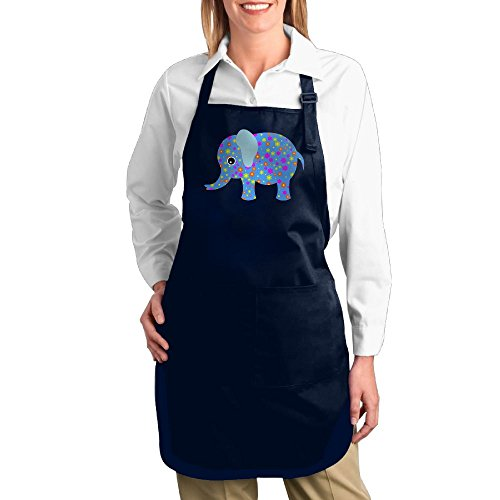 Dogquxio Cartoon Elephant Kitchen Helper Professional Bib Apron With 2 Pockets For Women Men Adults Navy by Dogquxio