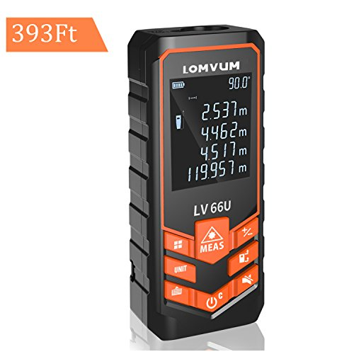 393ft Laser Measure - LOMVUM Laser Distance Measure with Mute Function Large LCD Backlight Display Measure Distance,Area and Volume,Pythagorean Mode Battery