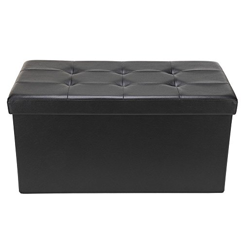 Homegear 30 Folding Faux Leather Storage Ottoman Footstool Bench Black