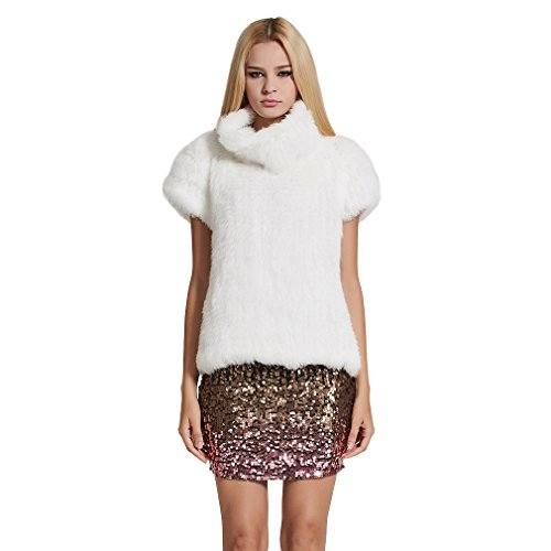 Fur Story Women's Knitted Real Rabbit Fur Vest Pullover Solid Female Fashion Warm Coat (White)