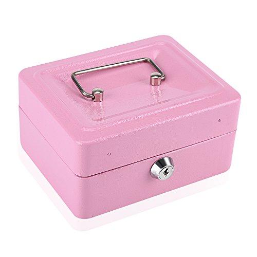 Caja Fuerte Portátil Caja de Seguridad con Combinación de 6 Dígitos para Dinero Caudales Billetes y Monedas(Rosa)