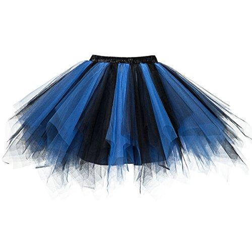 Topdress Women's 1950s Vintage Tutu Petticoat Ballet Bubble Skirt (26 Colors) Black Blue XXL/XXXL]()