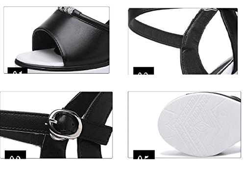 Talón Black Nuevos La Boca Coreana Femeninos Zapatos Sandalias Gruesos De Ocasional Del Pescado Verano Koyi Moda Aw4Bzqx