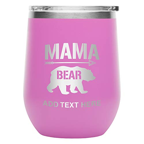 Grab A Smile Insulated Stemless Wine Tumbler Glass - Stainless Steel Double Wall Vacuum Insulation With BPA-Free Press In Lid, Mama Bear Incl. Custom Engraving, 12oz Pink