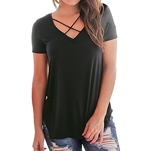 Funic Women Blouse, Short Sleeved Solid Criss Cross Front V-Neck T-Shirt Tops (XL (US 2XL), Black)