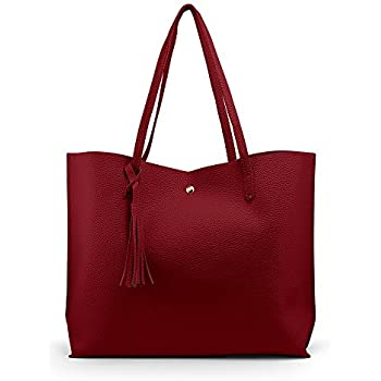 88c8802ca OCT17 Women Tote Bag - Tassels Faux Leather Shoulder Handbags, Fashion  Ladies Purses Satchel Messenger Bags (Red)