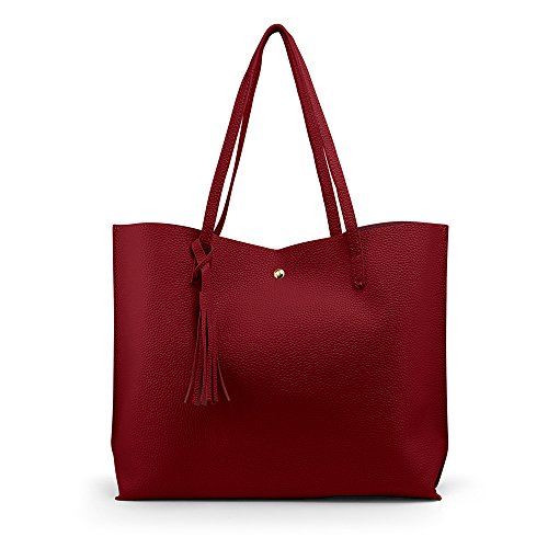 - OCT17 Women Tote Bag - Tassels Faux Leather Shoulder Handbags, Fashion Ladies Purses Satchel Messenger Bags (Red)