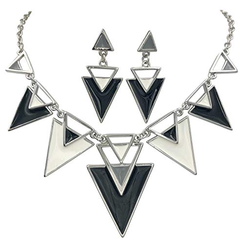 - Gypsy Jewels Chunky Big Bold Statement Unique Funky Large Necklace & Earrings Set (Black & White Silver Tone)