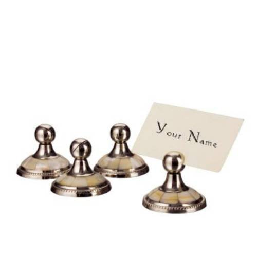 Godinger 9137 Mother of Pearl Placecard Holder - Set of 4,