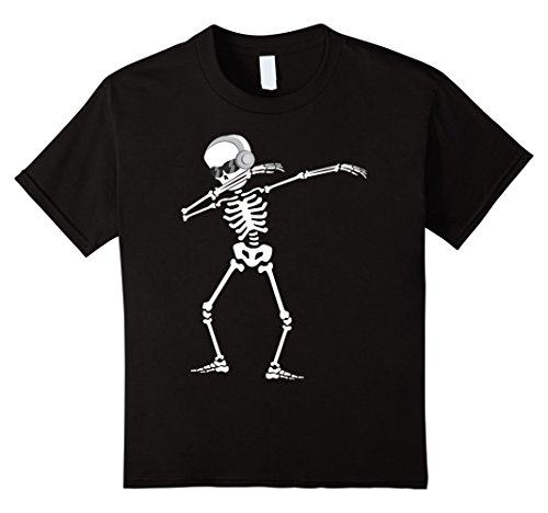 Price comparison product image Kids Dabbing Skeleton with Headphones - Halloween T-Shirt 10 Black