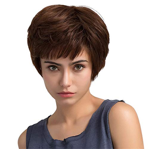 DOINSHOP Brown Short ide Fringe Curly Lace Hair Wigs Party Heat Resistant Cosplay Wig]()