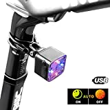 CubeLite Automatic Start/Stop Bike Tail Light USB Rechargeable Bicycle Rear Lights Red&Blue LED Bike Safety Light Ultra Bright Flashlight Waterproof 4 Lighting Modes Safety Warning Light Review