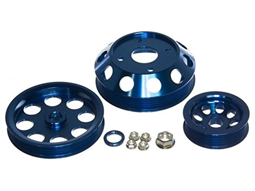 (P2M P2-EPKNS13B-CCR Blue Aluminum Pulley Kit - Nissan S13 SR20DET)