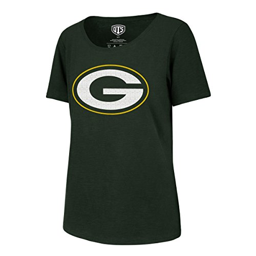 (NFL Green Bay Packers OTS Slub Scoop Distressed Womens, Dark Green, XL)