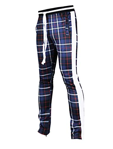 SCREENSHOTBRAND-P41902 Mens Hip Hop Premium Slim Fit Track Pants - Athletic Jogger Checker Pattern Print Taping Bottoms-Navy-Medium